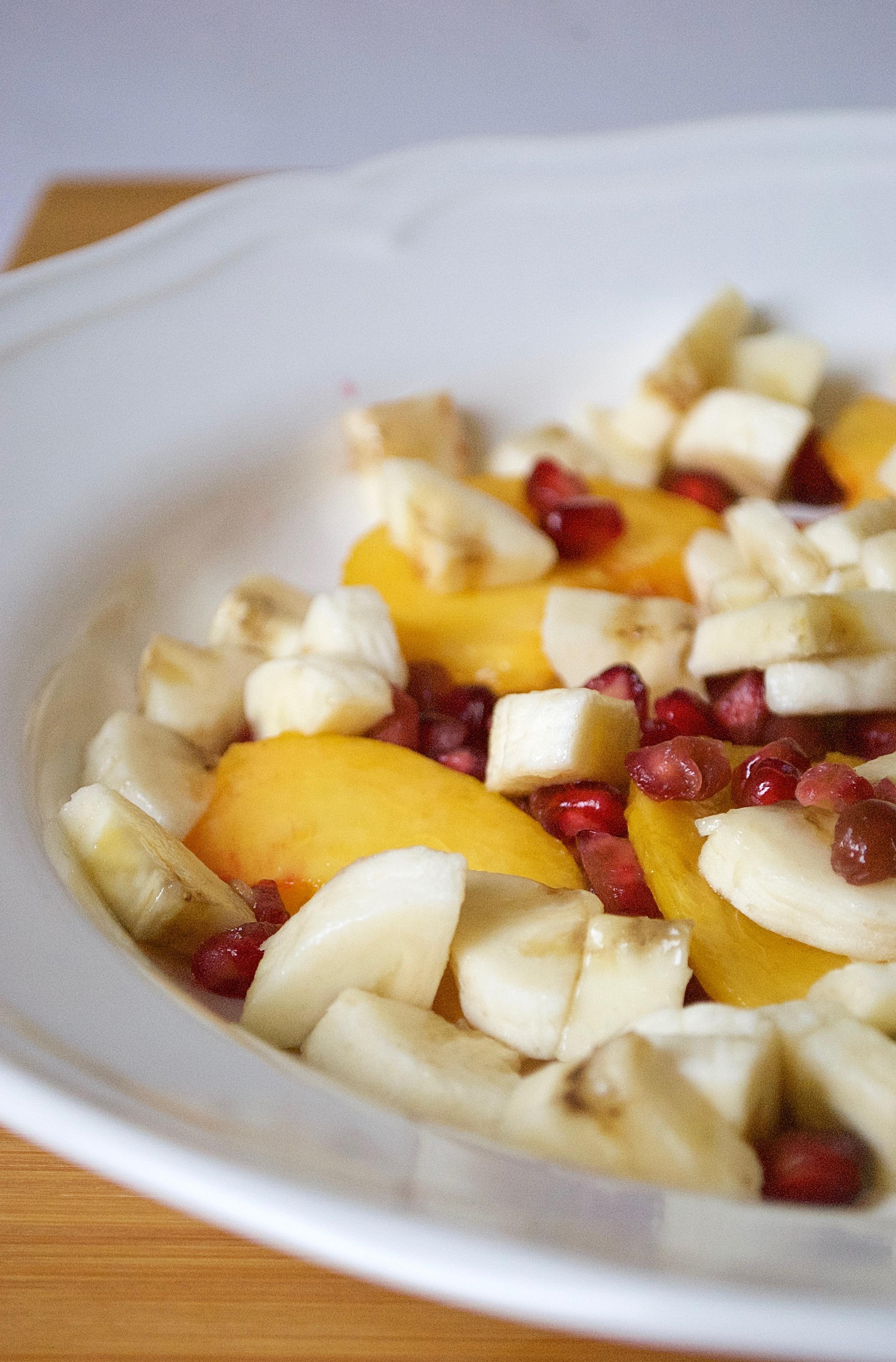 Banana, Peach and Pomegranate Fruit Salad