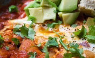 Shakshuka Baked Eggs with Avocado & Hummus